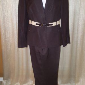 Tahari Belted Linen Pant Suit sz10 petite $45