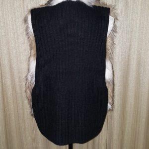 Leo & Natalie, Black Rib Back, Fur Vest, size, PXL